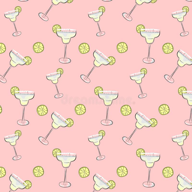 Friday mood cocktail background. Margarita drinks Pattern. Weekend, holiday dcoration, wrap, cloth print. Friday mood cocktail background. Margarita drinks stock illustration