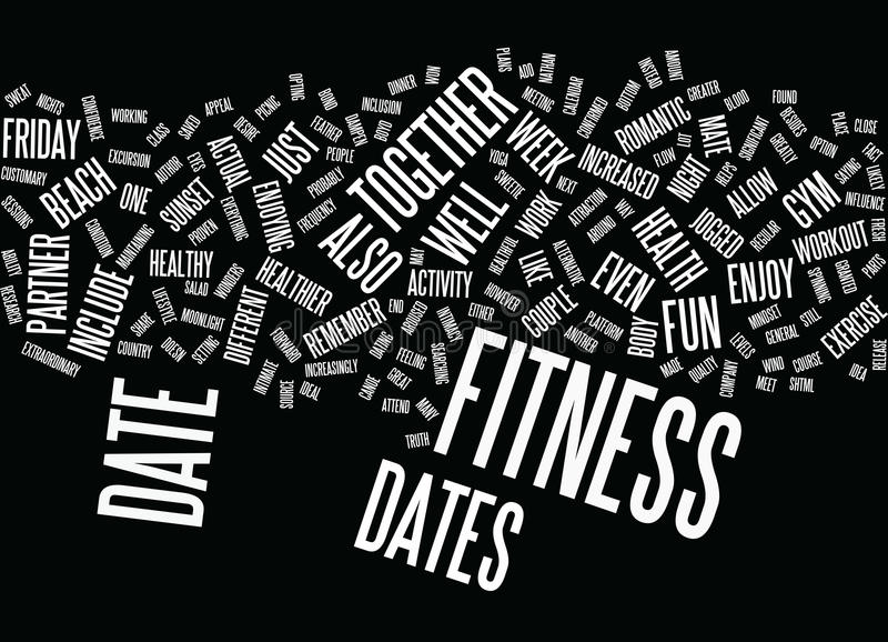 Friday Night Fitness Dates Word Cloud Concept. Friday Night Fitness Dates Text Background Word Cloud Concept stock illustration