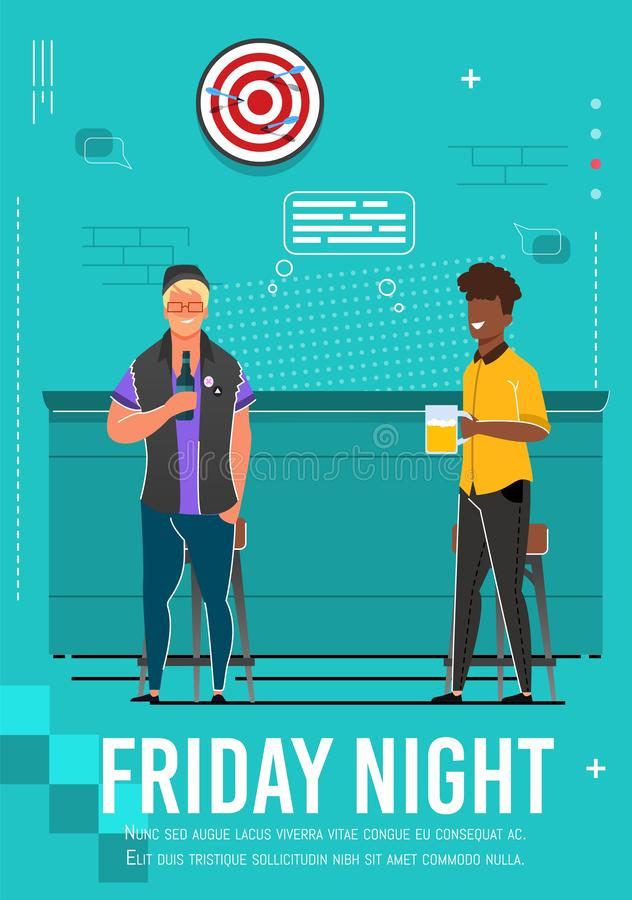 Friday Night Flyer with Relaxing Multiracial Men. Cartoon Fiends, Coworkers, Business Partners Rest at Cafe. Flat Guys Drink Beer from Bottle and Glass stock illustration