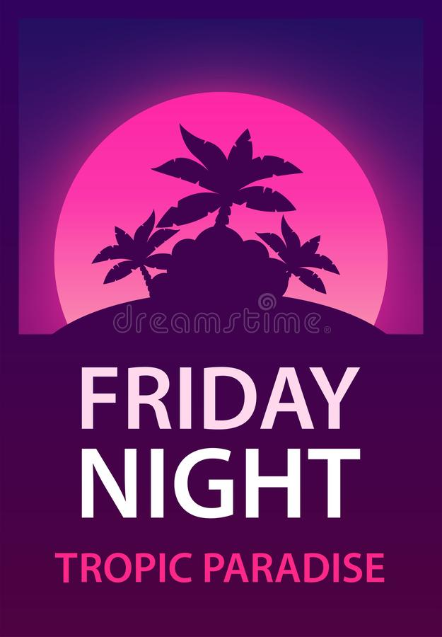 Friday Night - Poster for Dance, Music Party for Night Club vector illustration