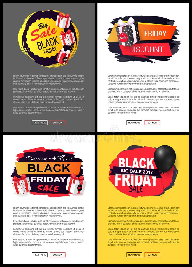 Friday Sale, Promo Labels, Black Balloon Vector stock illustration