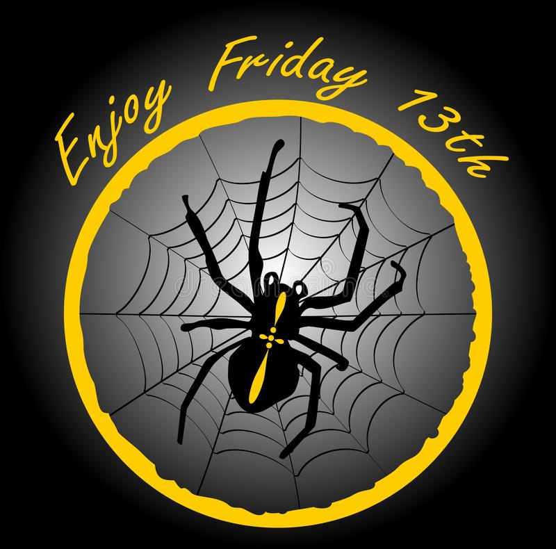 Friday 13th, elegant badge with spider crusader, cobweb in yellow circle on black gradient background. vector illustration