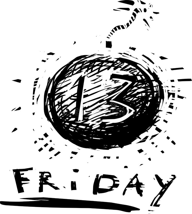 Friday the 13th icon. In grunge style vector illustration