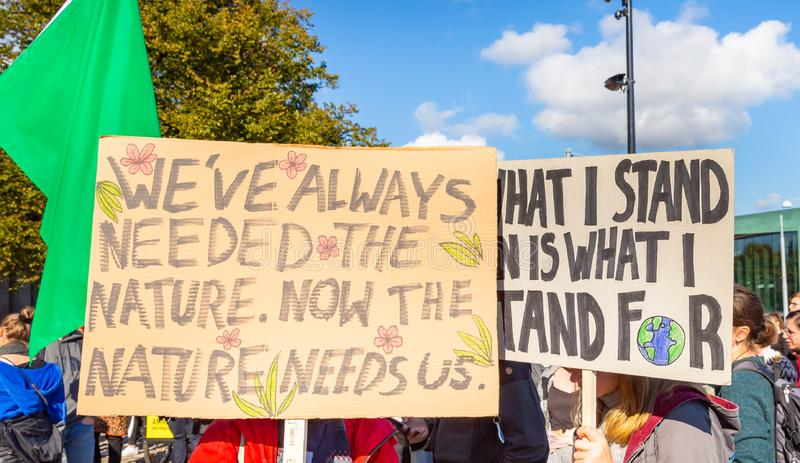 Fridays for Future, Climate Strike, Climate demonstrations in helsinki finland royalty free stock image