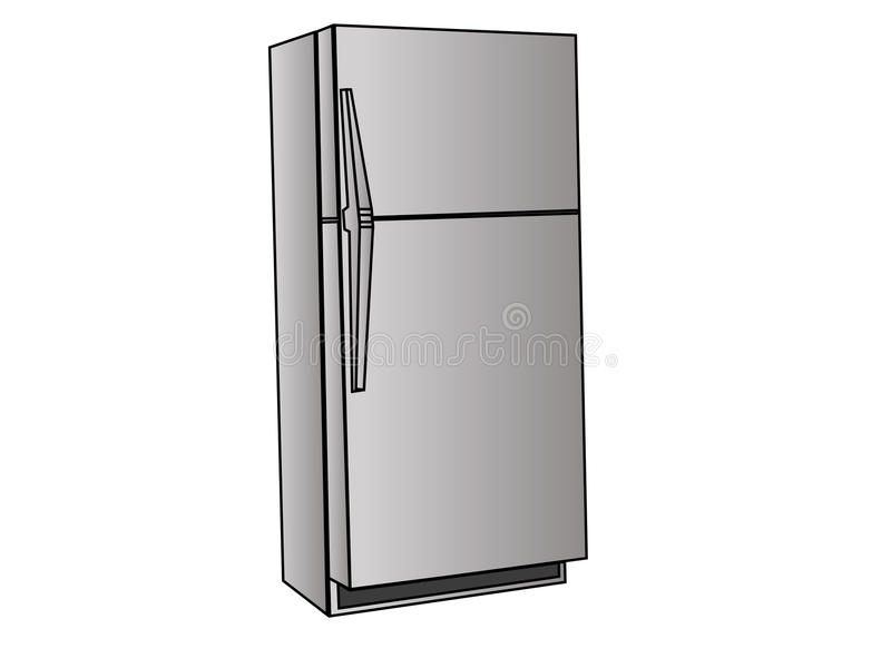 Fridge. Grey fridge from front wiev vector illustration
