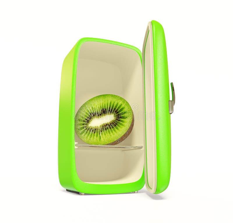 Fridge. Green fridge with fresh kiwi inside on white stock illustration