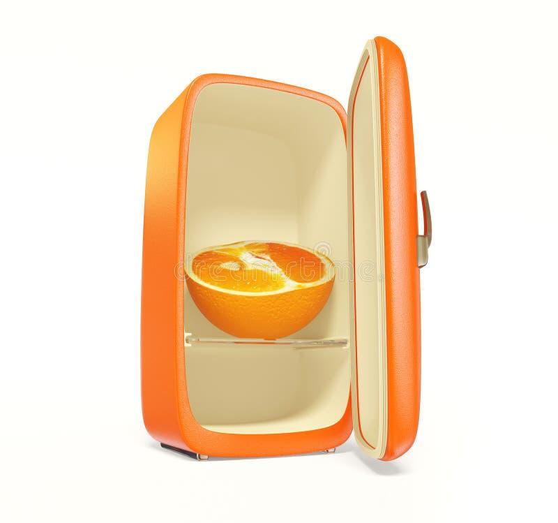 Fridge. Old orange fridge on white background isolated vector illustration