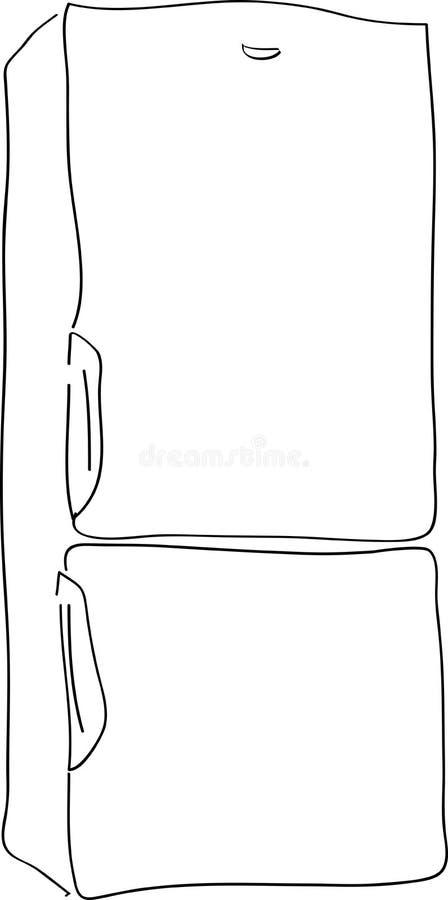 Fridge. Outlined illustration of a fridge stock illustration