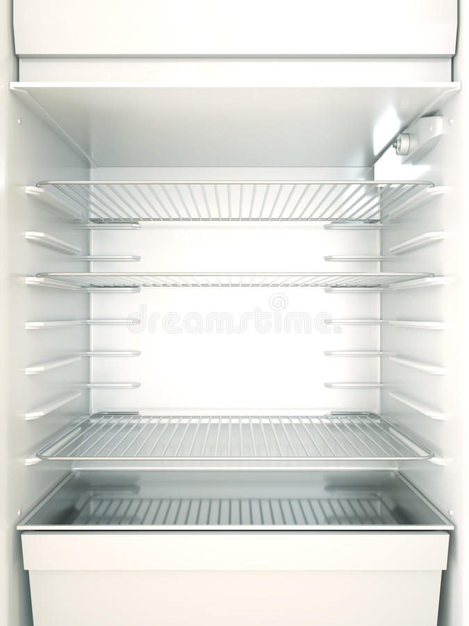 Fridge. Empty fridge interior. 3D render vector illustration