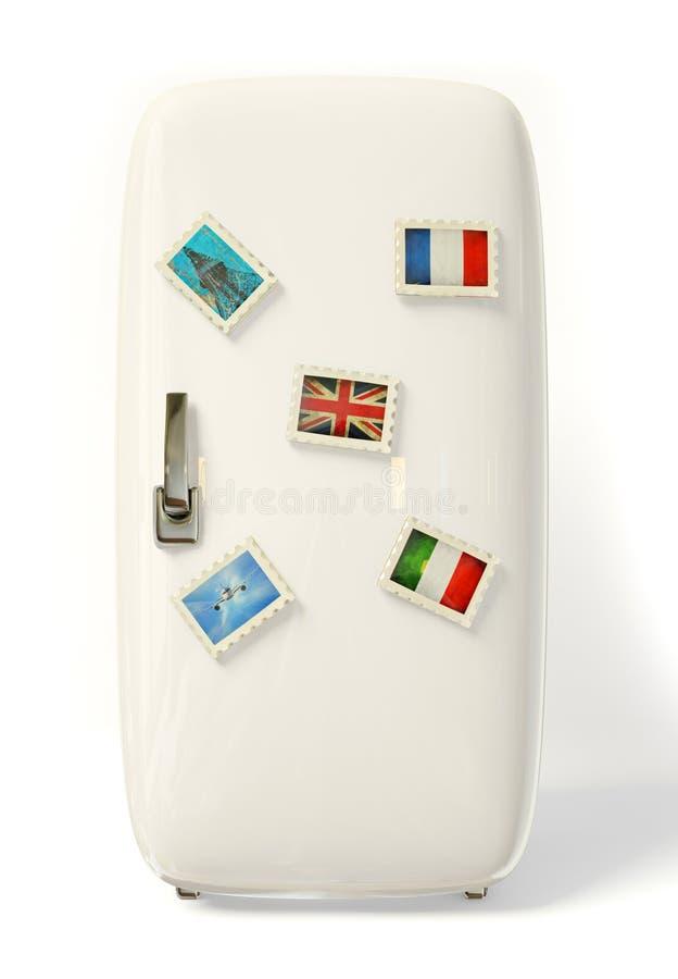 Fridge. White fridge vith a colorful travel stickers royalty free illustration