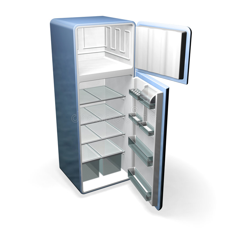 Fridge. 3D render of a fridge vector illustration