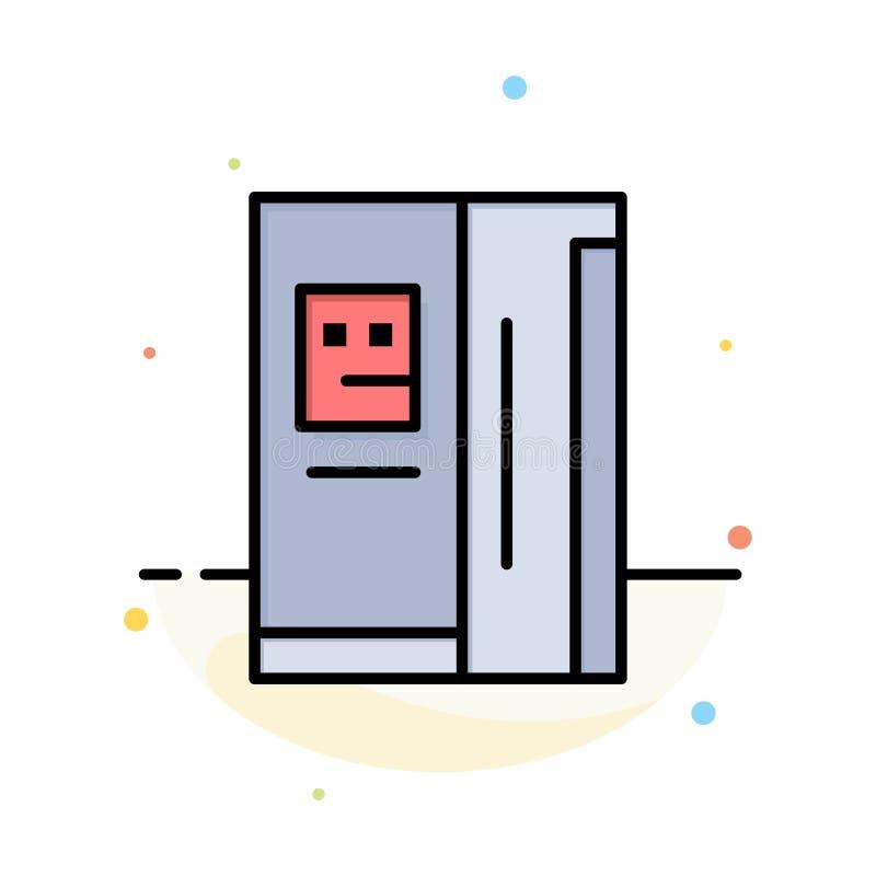 Fridge, chłodziarka, deaktywacja, chłodnia koloru ikony Abstrakcjonistyczny Płaski szablon royalty ilustracja