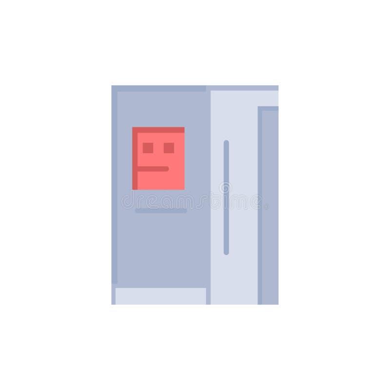 Fridge, chłodziarka, deaktywacja, chłodnia koloru Płaska ikona Wektorowy ikona sztandaru szablon ilustracja wektor