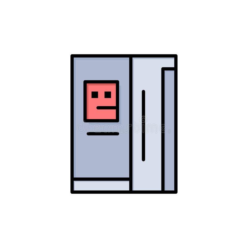 Fridge, chłodziarka, deaktywacja, chłodnia koloru Płaska ikona Wektorowy ikona sztandaru szablon royalty ilustracja