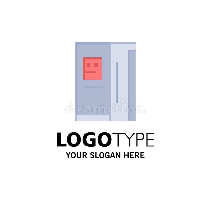 Fridge, chłodziarka, deaktywacja, chłodnia logo Biznesowy szablon p?aski kolor royalty ilustracja