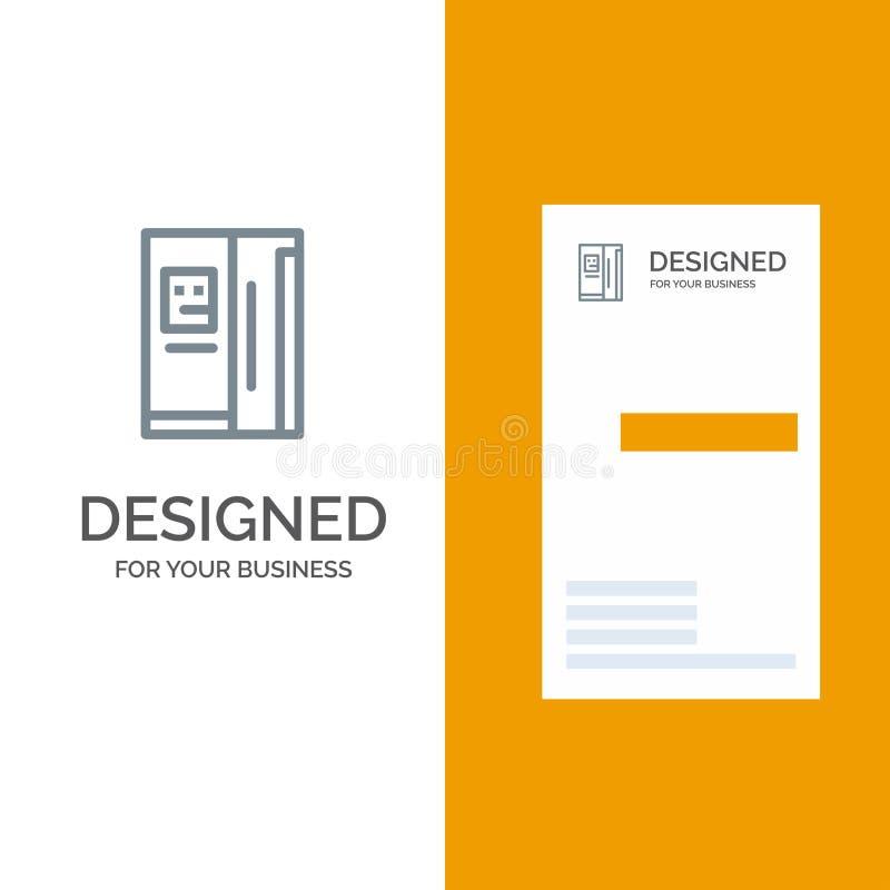 Fridge, chłodziarka, deaktywacja, chłodnia logo Popielaty projekt i wizytówka szablon, royalty ilustracja
