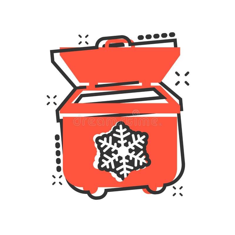 Fridge chłodziarki ikona w komiczka stylu Chłodnia zbiornika kreskówki ilustracji wektorowy piktogram Fridge pojęcia biznesowy pl royalty ilustracja