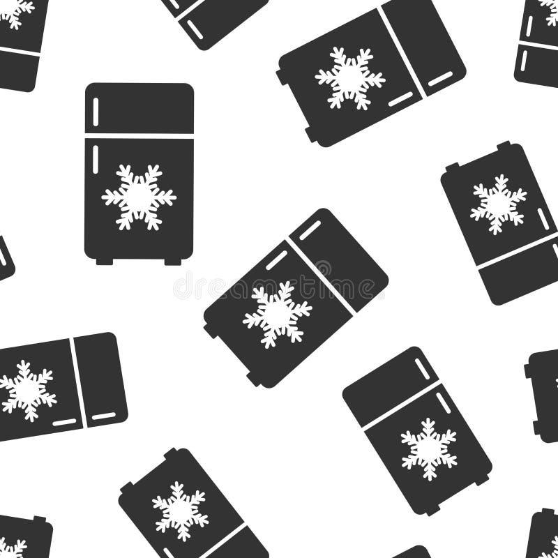 Fridge chłodziarki ikony bezszwowy deseniowy tło Chłodnia zbiornika wektoru ilustracja Fridge symbolu wzór ilustracja wektor