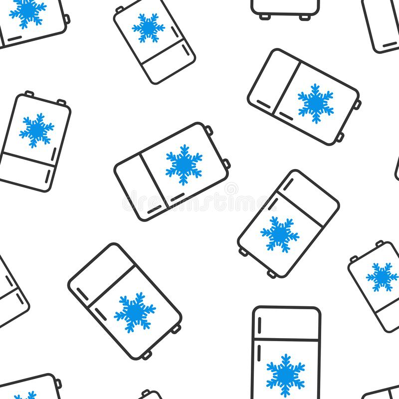 Fridge chłodziarki ikony bezszwowy deseniowy tło Chłodnia zbiornika wektoru ilustracja Fridge symbolu wzór royalty ilustracja