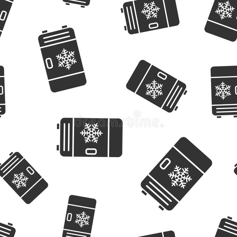 Fridge chłodziarki ikony bezszwowy deseniowy tło Chłodnia zbiornika wektoru ilustracja Fridge symbolu wzór ilustracji