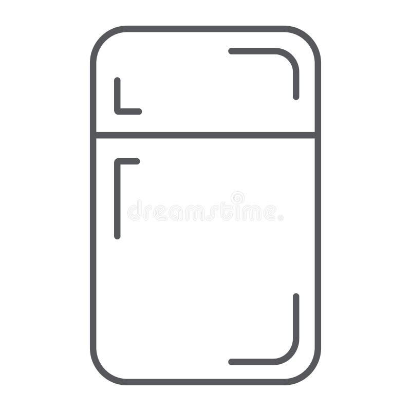 Fridge cienka kreskowa ikona, chłodnia i dom, refregerator znak, wektorowe grafika, liniowy wzór na białym tle ilustracja wektor