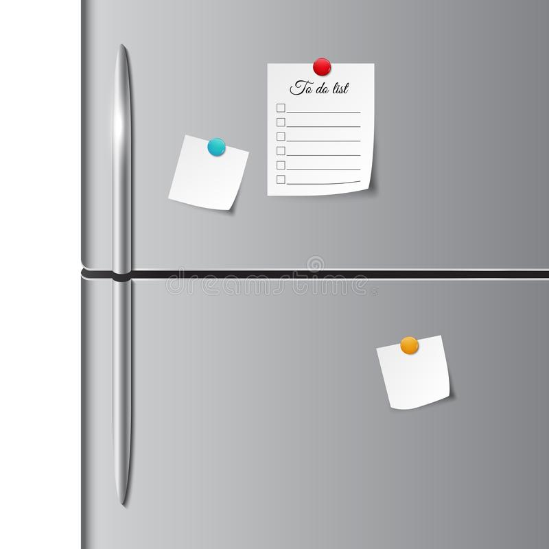 Fridge doors and empty paper note, sticker, and to do list. Vector illustration royalty free illustration