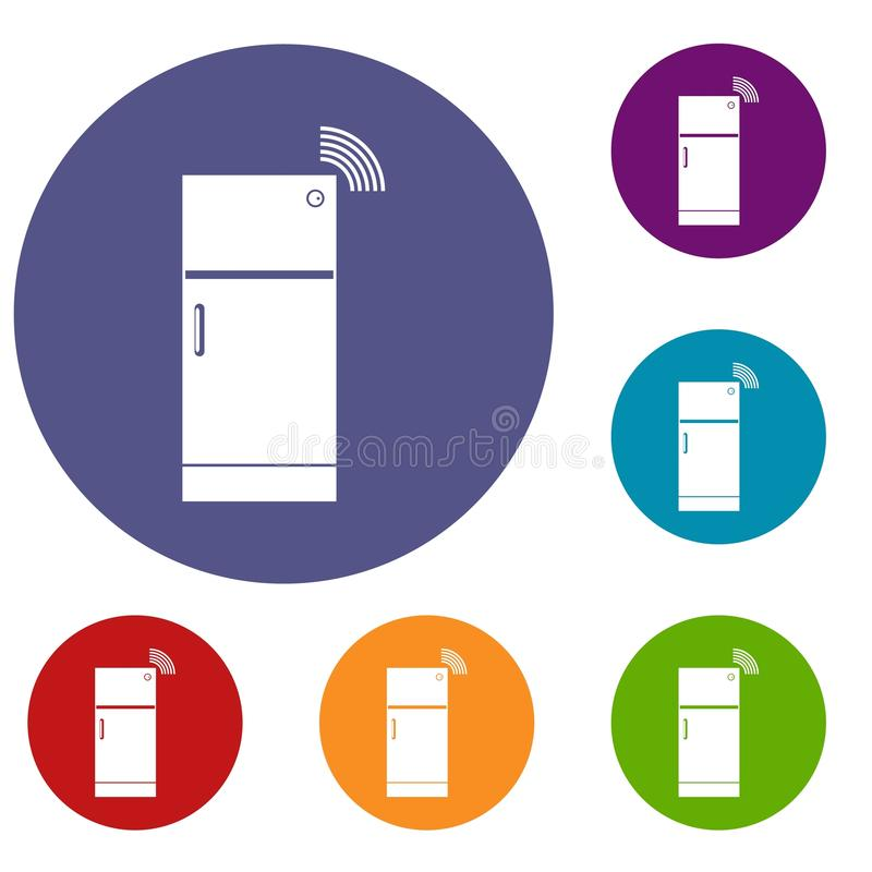 Fridge icons set. In flat circle red, blue and green color for web royalty free illustration