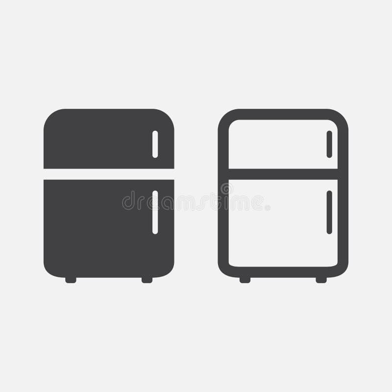 Fridge ikony wektor odizolowywający na bielu royalty ilustracja