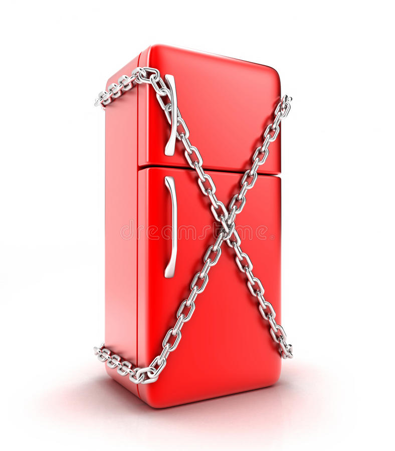 The fridge. Illustration of the fridge with a chain on a white background vector illustration