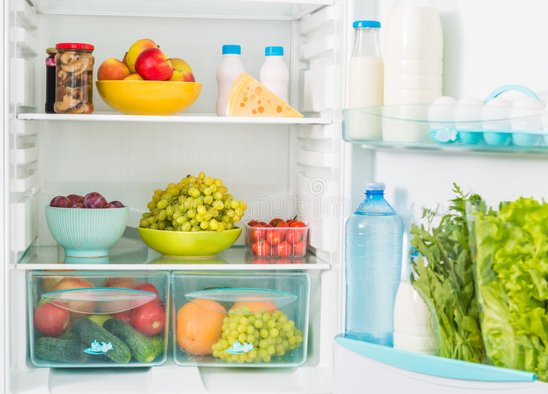 Fridge inseide with food stock images