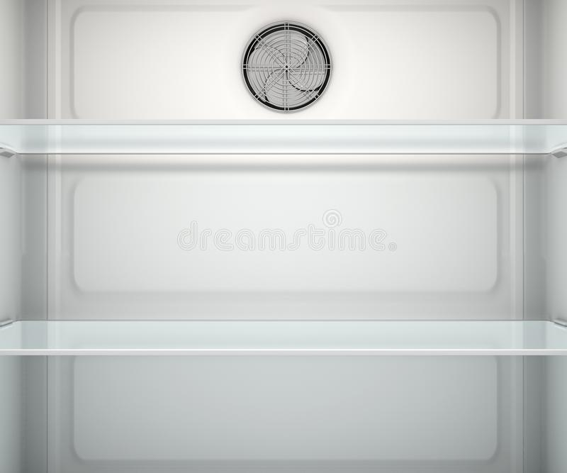 Fridge Interior. A view inside an empty household fridge or freezer with glass shelves and drawers - 3D render stock illustration