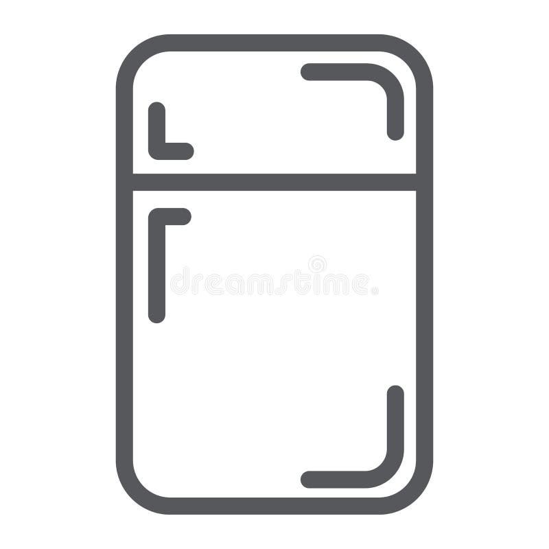 Fridge kreskowa ikona, chłodnia i dom, refregerator znak, wektorowe grafika, liniowy wzór na białym tle royalty ilustracja