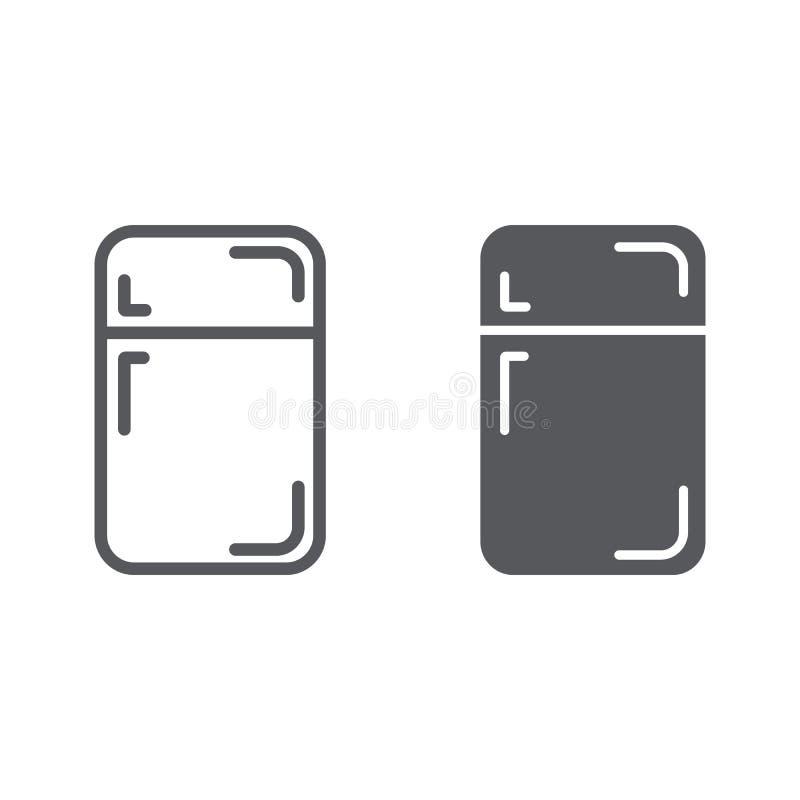 Fridge linia, glif ikona, chłodnia i dom, refregerator znak, wektorowe grafika, liniowy wzór na białym tle ilustracji