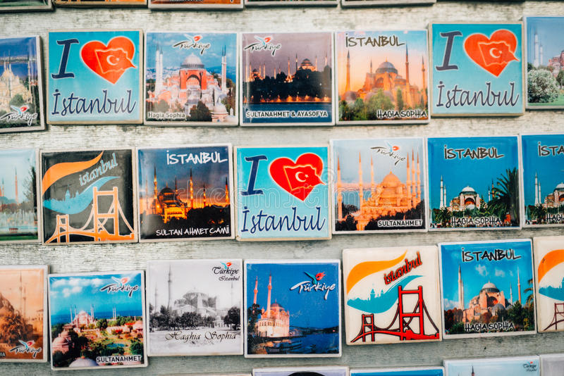 Fridge magnets in Istanbul stock photo