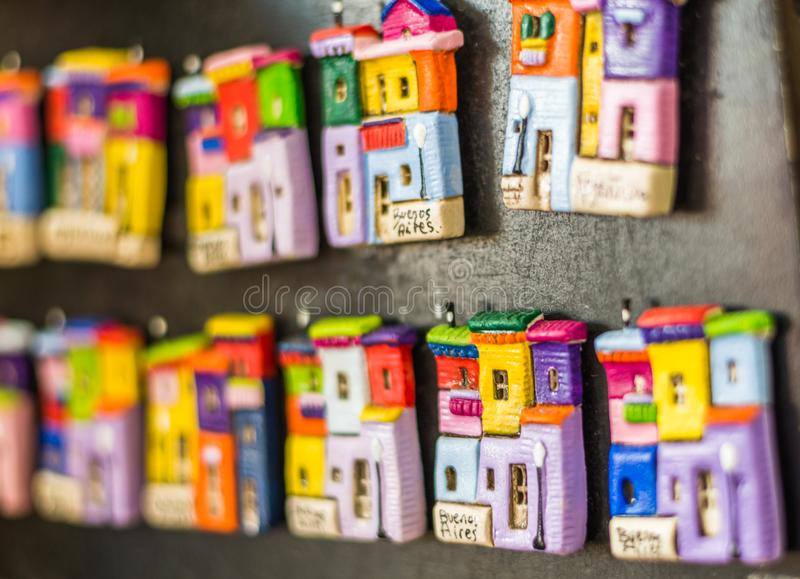 Fridge magnets with traditional colorful houses in La Boca, Buenos Aires. royalty free stock images