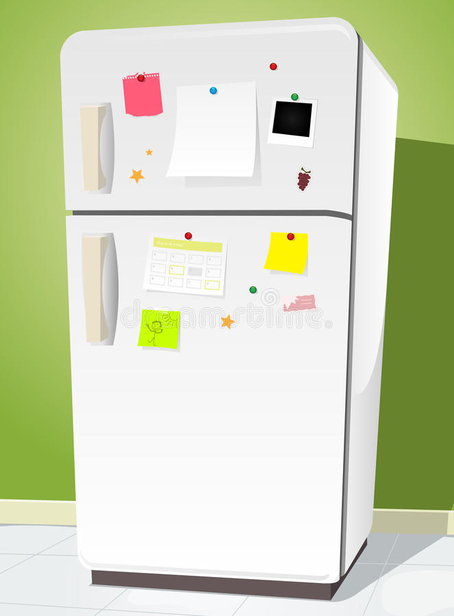 Fridge With Notes. Illustration of a cartoon white fridge with notes and kitchen background vector illustration