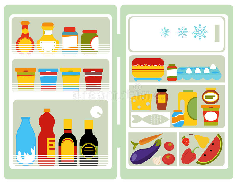fridge otwarty royalty ilustracja