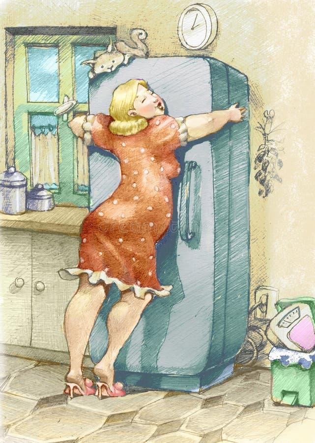 Fridge. A plump woman embracing a fridge with passion stock illustration