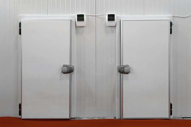 Fridge Reefer. Two Insulated Doors at Commercial Refridgerated Storage Fridge Reefer stock images