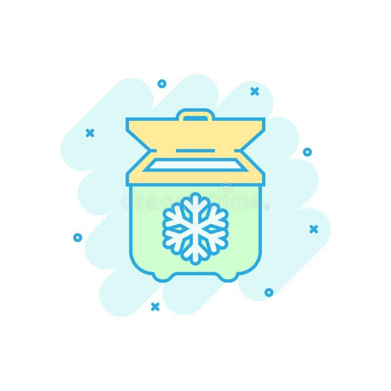 Fridge refrigerator icon in comic style. Freezer container vector cartoon illustration pictogram. Fridge business concept splash. Effect stock illustration