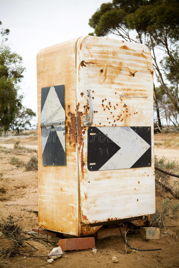 Fridge Road Sign. Country road signs plastered onto an old fridge stock images