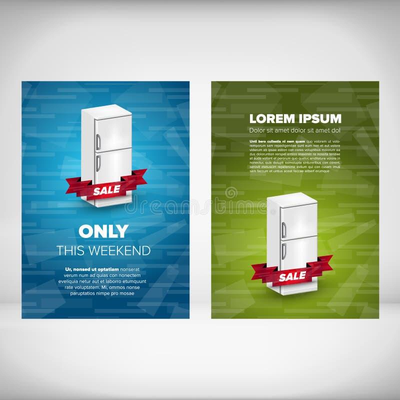 Fridge sale leaflet. Design concept with blue and green backgrounds vector illustration