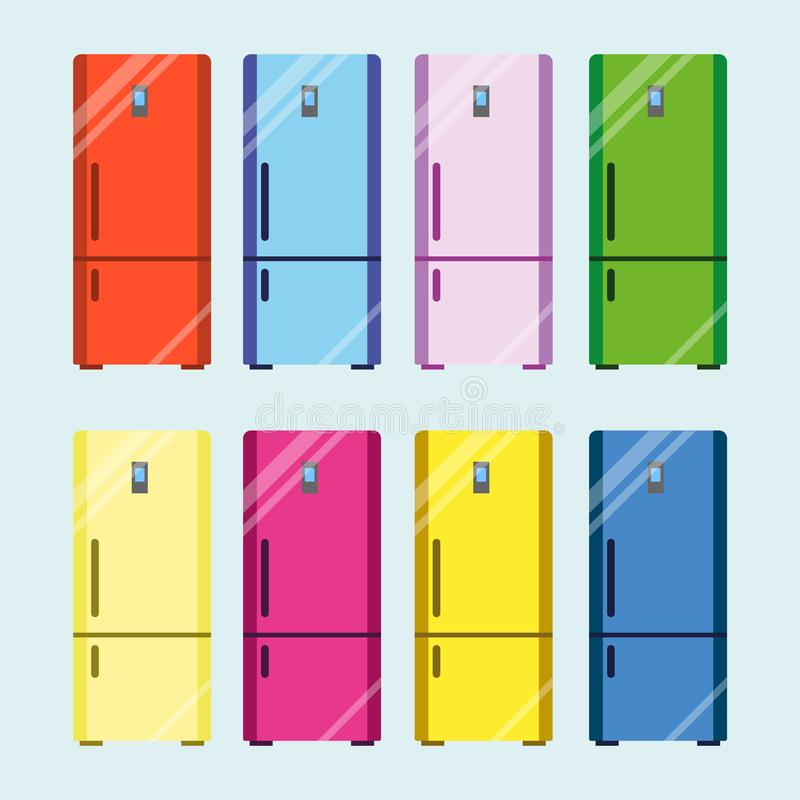 Fridge set, kitchen equipment. Refrigerator to keep cool, appliance to store food and drink fresh. Vector flat style royalty free illustration