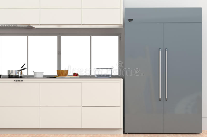 Fridge with side by side doors in kitchen. 3d rendering fridge with side by side doors in kitchen vector illustration