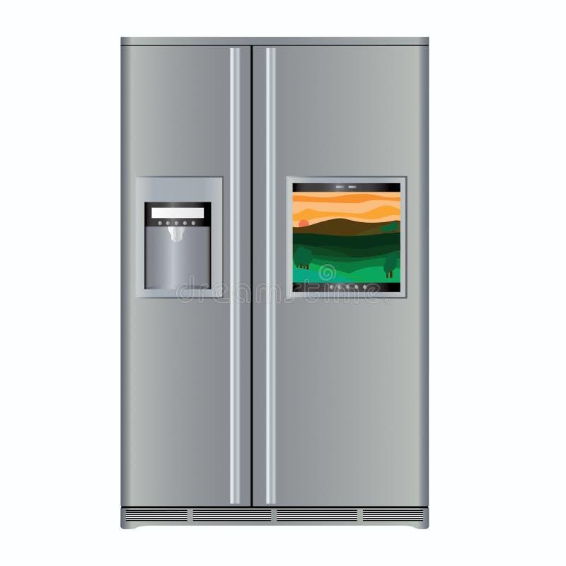 Fridge with TV. Silver fridge with built-in TV stock illustration