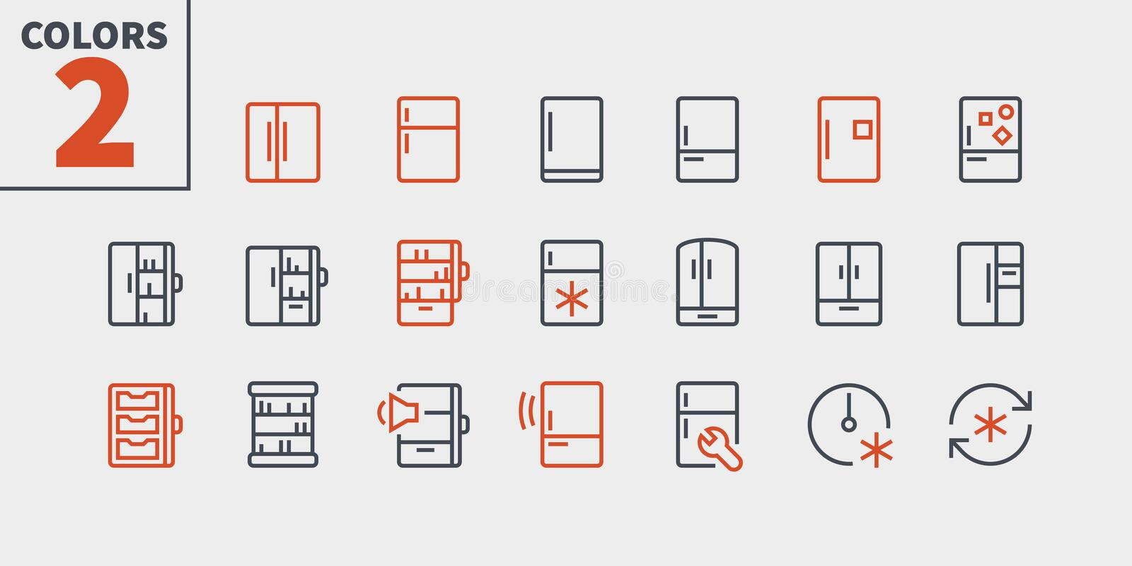 Fridge UI Pixel Perfect Well-crafted Vector Thin Line Icons 48x48 Ready for 24x24 Grid for Web Graphics and Apps with. Editable Stroke. Simple Minimal Pictogram vector illustration