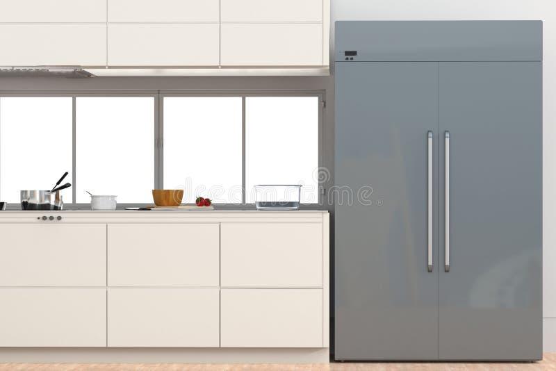 Fridge z stroną boczni drzwi w kuchni - obok - ilustracja wektor