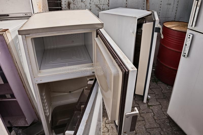 Fridges dump, broken fridges containing cfc royalty free stock image