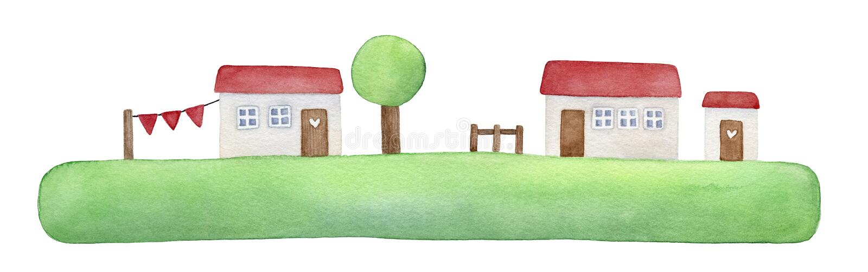 Fridsam illustration av ön för grönt gräs, vita små hus, rött tak, trädörrar med förälskelsehjärtor royaltyfri illustrationer