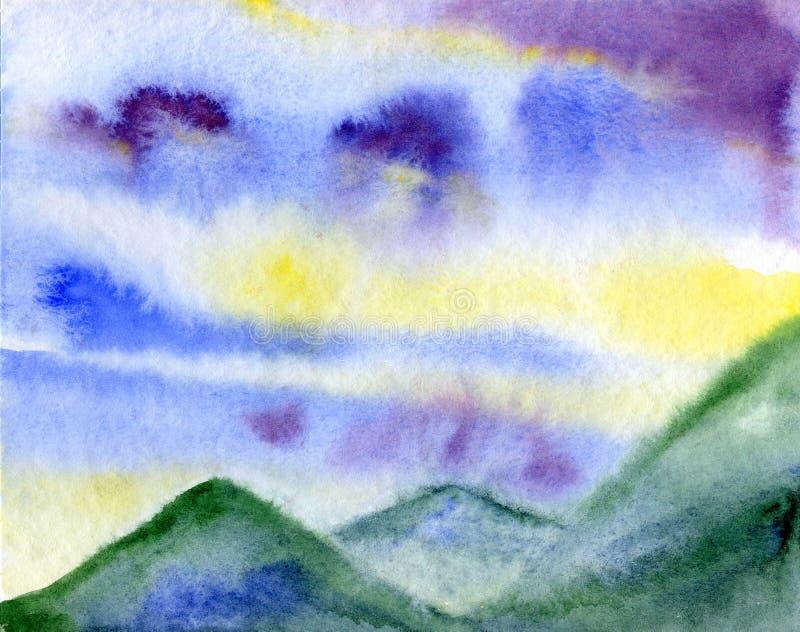 Fridsam landskapsommar - himlen och bergen - vattenfärgillustration vektor illustrationer